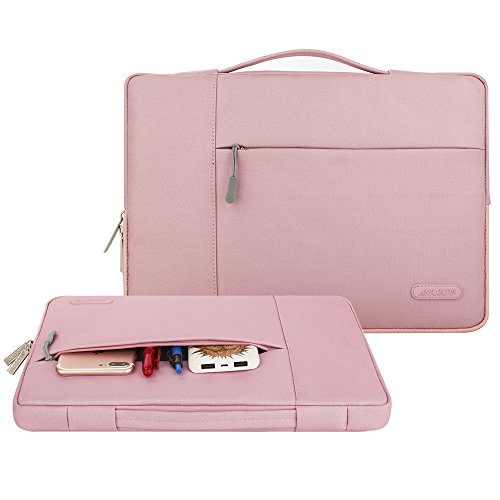 Mosiso Polyester Fabric Multifunctional Sleeve Briefcase Handbag Case Cover for 12.9-13.3 Inch Laptop, Notebook, MacBook Air/Pro, Pink