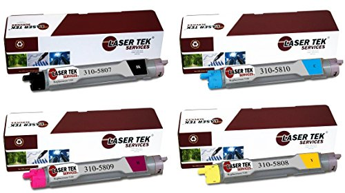 Laser Tek Services® 4PK Compatible Replacement Dell 5100 Toner Cartridges (1 Black 310-5807, 1 Cyan 310-5810, 1 Magenta 310-5809, 1 Yellow 310-5808) for use in the Dell Color Laser 5100cn